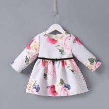 2018 Spring Kids Brand Dresses A-line Floral Rose Baby Girls Dress Elegant Princess Dress Girls Clothes 0-2T