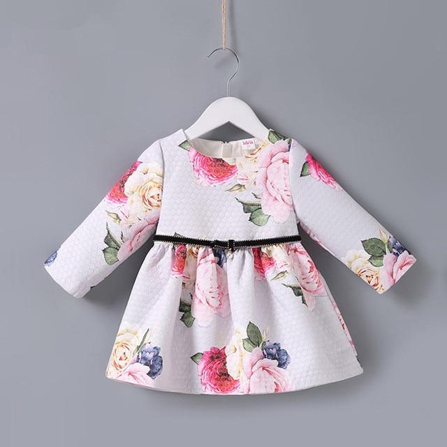 Bahar çocuk marka elbiseler A line çiçek gül bebek kız elbise zarif prenses elbise kız elbise 0 2T