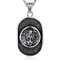 Wholesale Accessories Charm Fashion Men Oval Jewelry Punk Silver Plated Lion Head Chain Pendant Stainless Steel