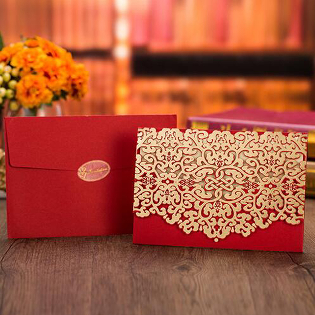 (50 Pieces/lot)Laser Cut Wedding Invitations Chinese Red Gold Flora Vintage  Invitation