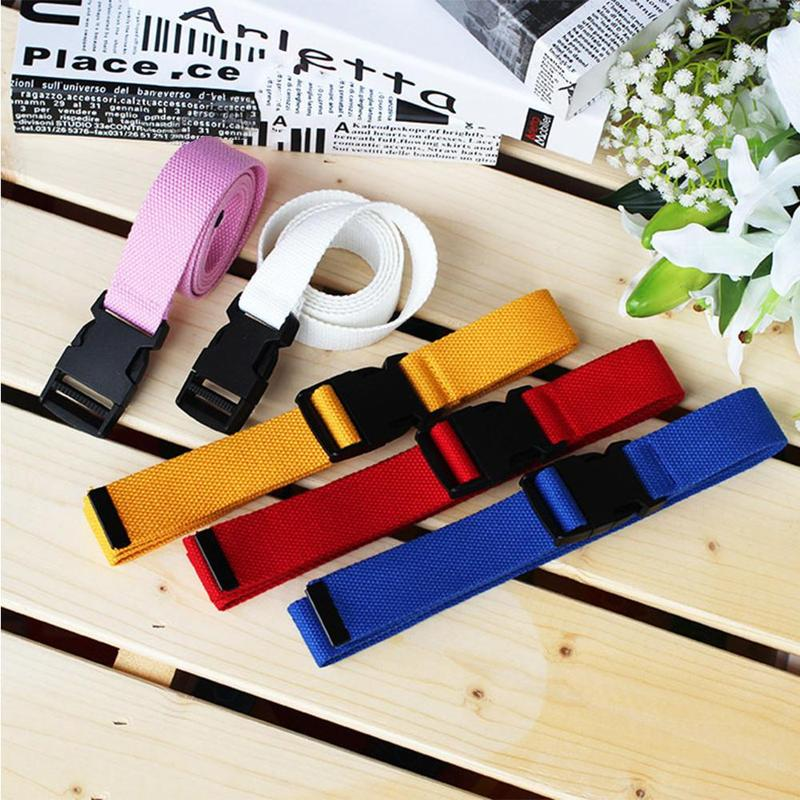 Fashion Black Canvas Belt For Women Men Casual Waist Belts With Plastic Buckle Harajuku Solid Color Long Belts Clothes Accessory