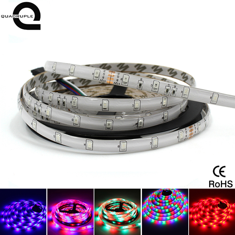 Quadruple RGB Waterproof LED Strip 5M 300Led 2835 SMD Adapter Flexible Light Led Tape High Brightness For Home Decoration
