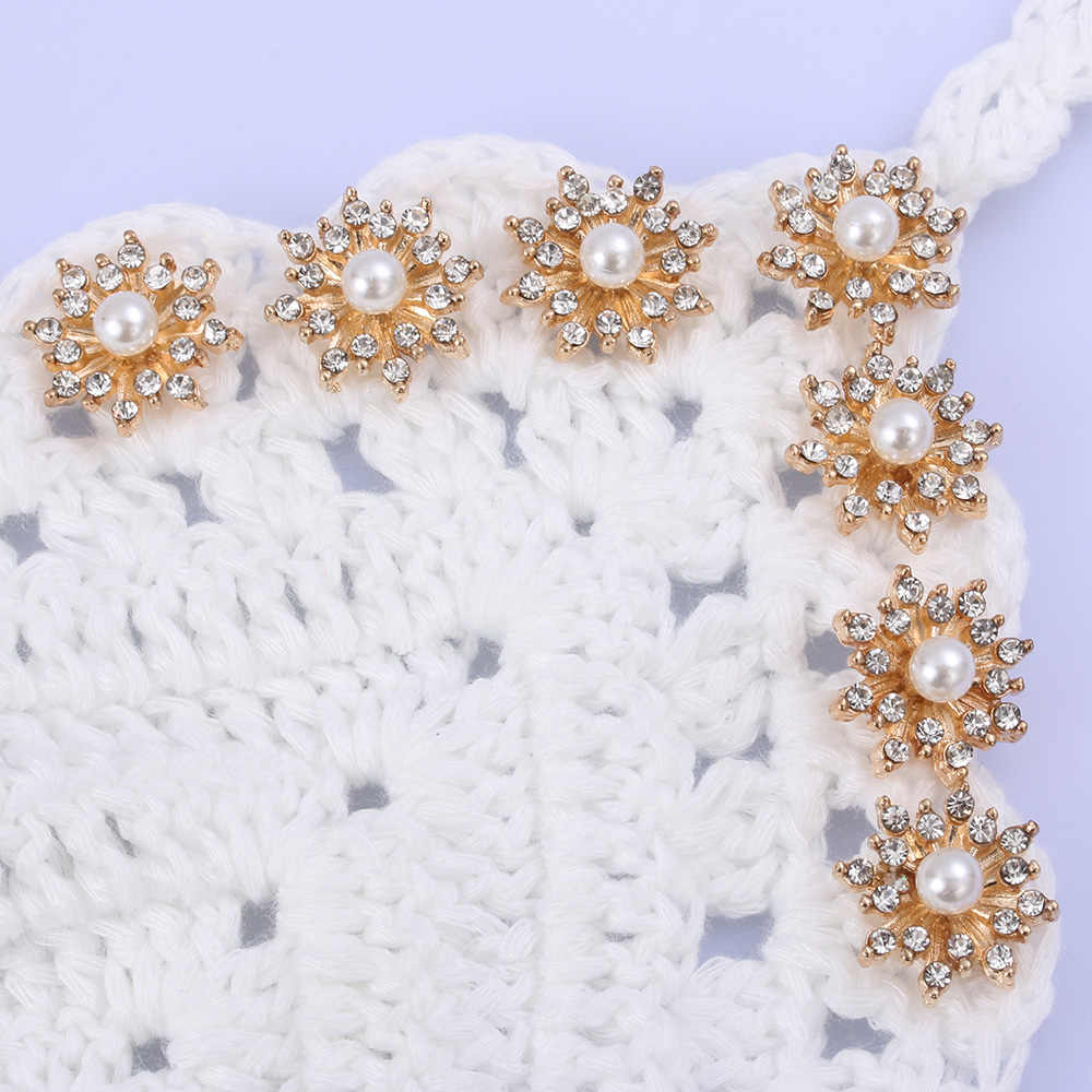 10 Buah 16 Mm Rhinestone Kepingan Salju Cabochon Logam Vintage Tombol untuk Pakaian Pipih Plating Pearl DIY Kerajinan Jahit Pakaian