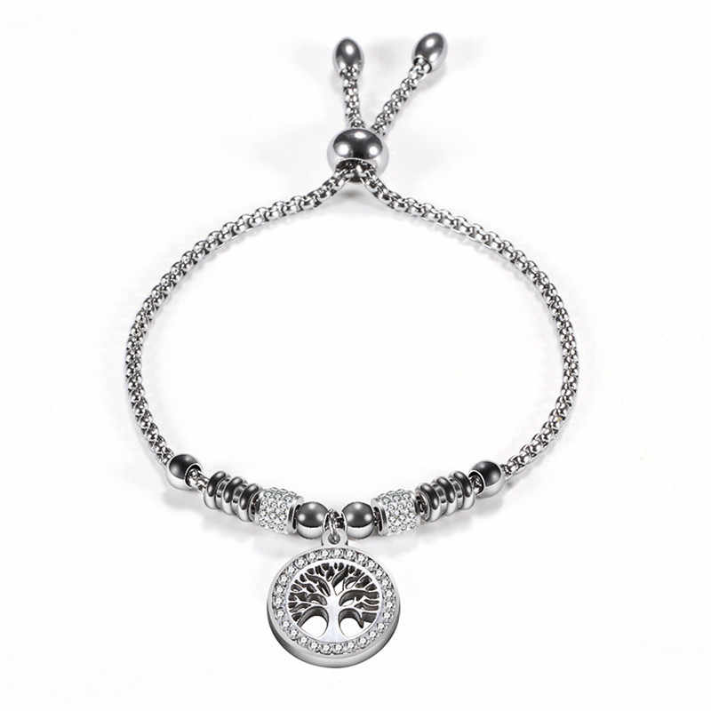Modyle Bohemian Style Stainless Steel Life of Tree Charm Beads Bracelets For Women Crystal Bead Bracelet Jewelry Gift