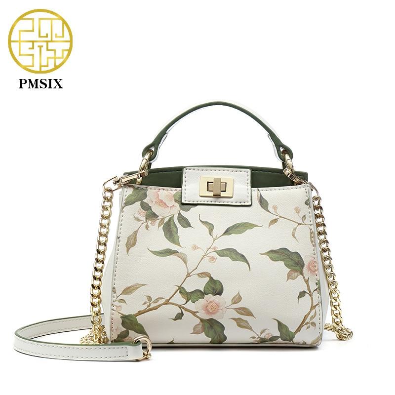 Pmsix 2018 Винтаж Цветочный Печать мини Брендовая дизайнерская обувь цепи сумки на ремне модные замок кожаные женские роскошные сумки P220068