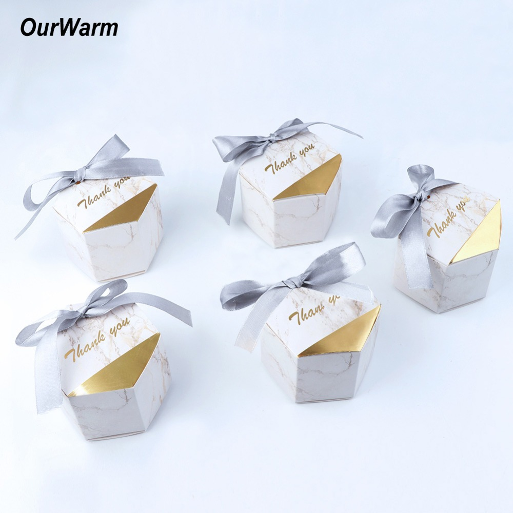 OurWarm 50pcs/lot Creative Marble Candy Boxes Wedding Favors Party Supplies Baby Shower Decorations Thanks Gift Box for Guests