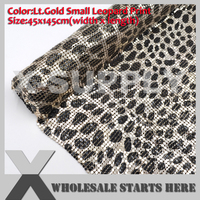 DHL Free Shipping Aluminum Metal Fabric Mesh 3mm Lt.Gold Leopard Print without Glue/For Shoe,Jeans,Decoration,Wedding,Clothing