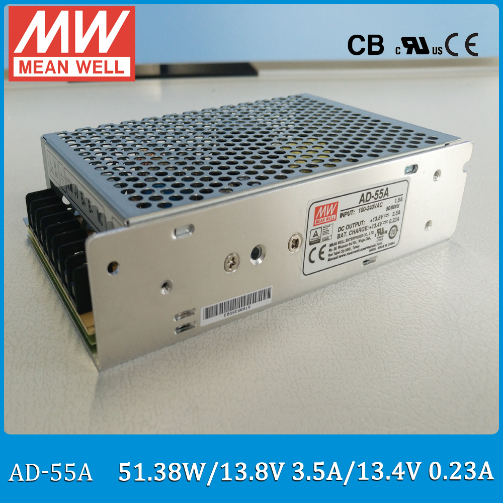 цена на Original Meanwell AD-55A 55W DC output 13.8V 3.5A Security Power Supply with Battery charger(UPS function) AD-55