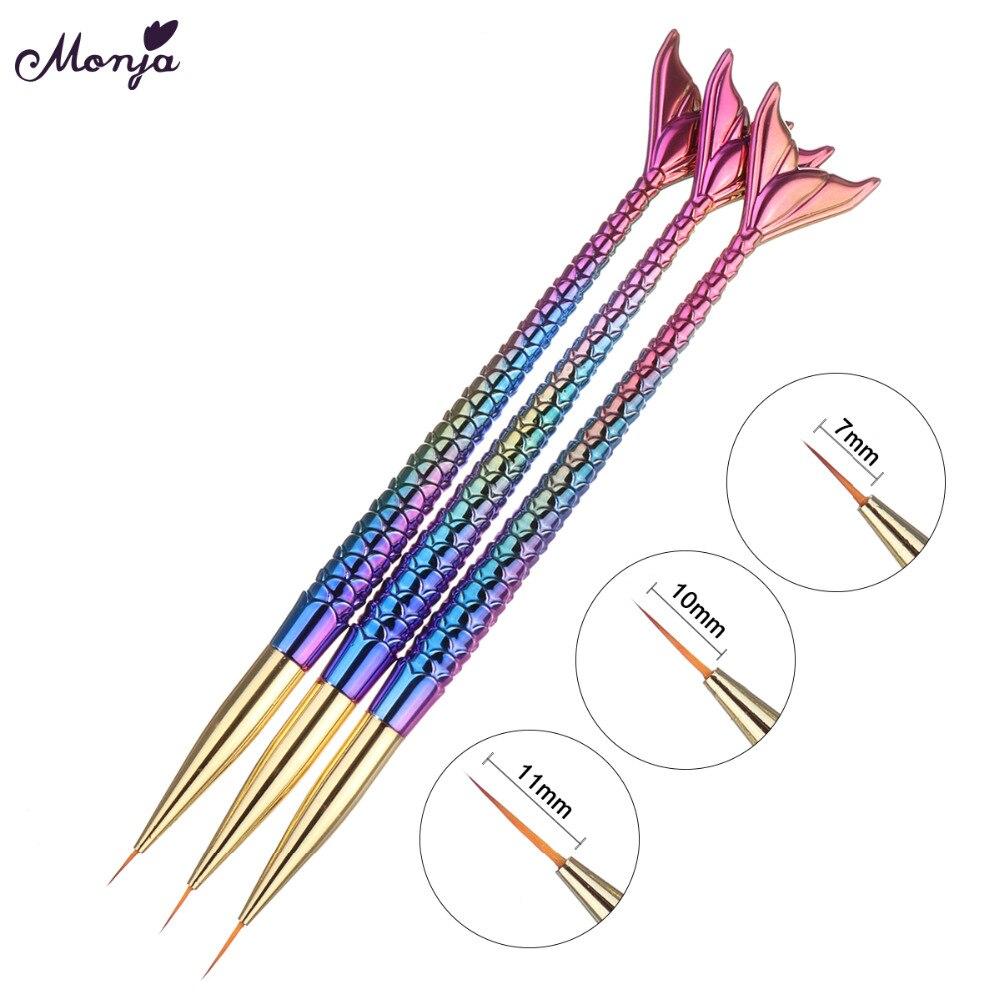 Monja 3Pcs/set 7/10/11mm Nail Art Gold Silver Mermaid Stripes Lines Liner Painting Brush Flower Design Drawing Pen Manicure Tool