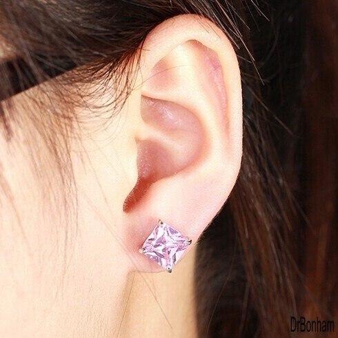 86dd2e2ded2b8 US $2.37 70% OFF| Multi colors 8mm 4ct Top Quality unisex square Swiss AAA+  CZ zircon Stud Earrings for men women black purple pink orange-in Stud ...