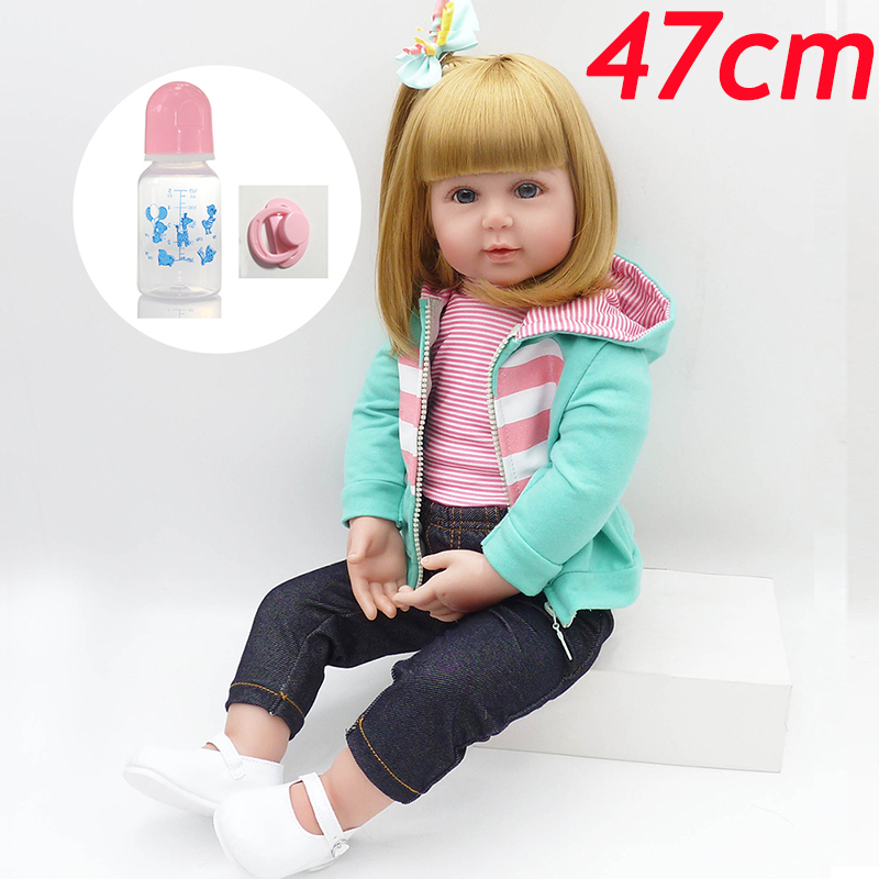 Princesse poupée reborn 47 CM Reborn bébés coton corps Silicone Bebes Reborn fille poupée haute simulation poupée lol paly maison jouet cadeau