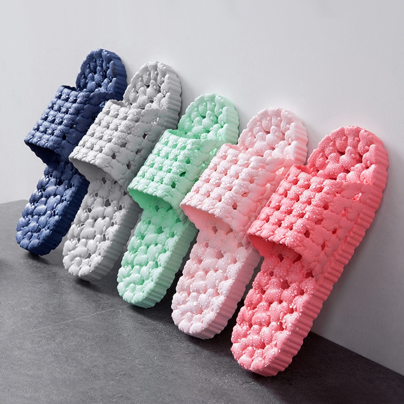Summer Bathroom Shower Leaking Anti-skid Slippers Home Indoor Couple Men And Women Plastic Thick Bottom Slippers