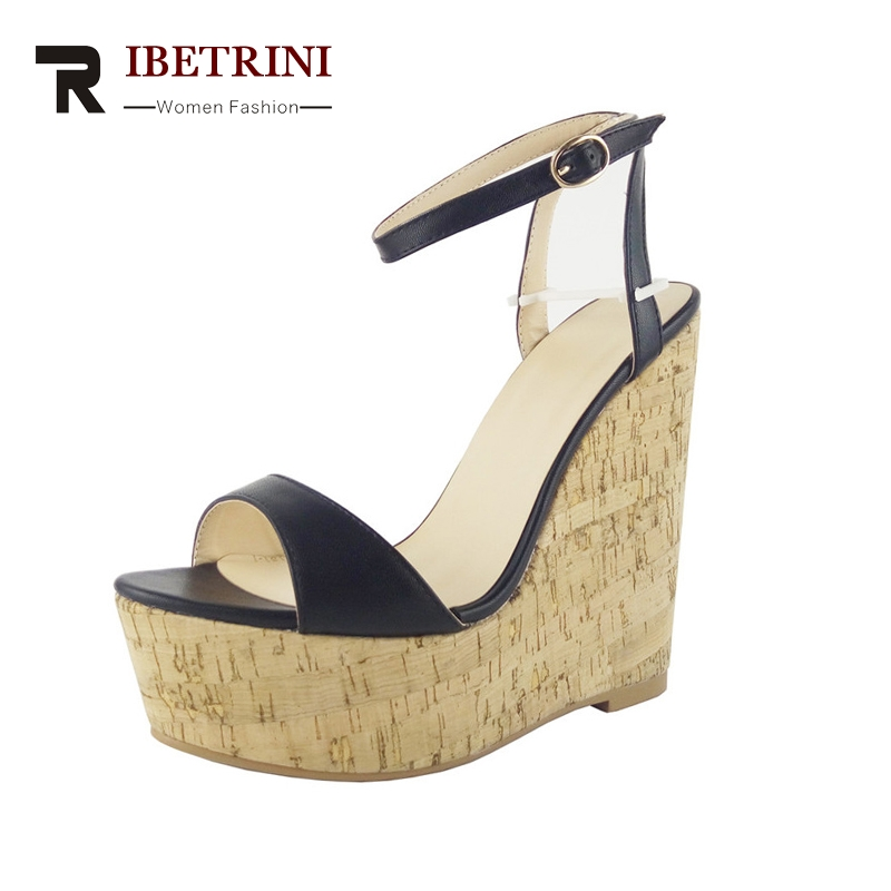 RIBETRINI 2018 Brand New Big Size 34-43 Platform ankle-strap Summer Sandals Women Shoes Sexy Wedge High Heels Woman Shoes ribetrini women hot sale cow leather low heel wedges summer casual shoes woman ankle strap open toe platform sandals size 34 39