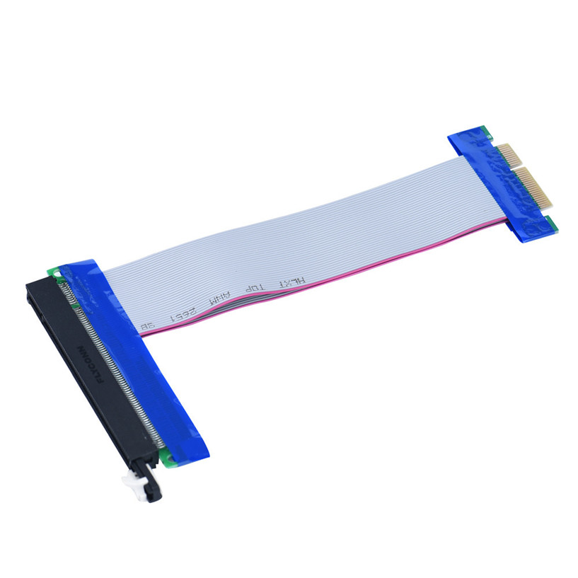 New Mecall PCI-E Express Extension Cable Flex Ribbon 4X To 16X Extender Riser Card wholesale Mo04 pci express pci e 8x to 16x riser card extender ribbon cable 15 5cm