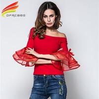 Off Shoulder Organza Blouses Womens 2017 Summer Long Sleeve Black Cotton Shirt European Fashion Top Casual