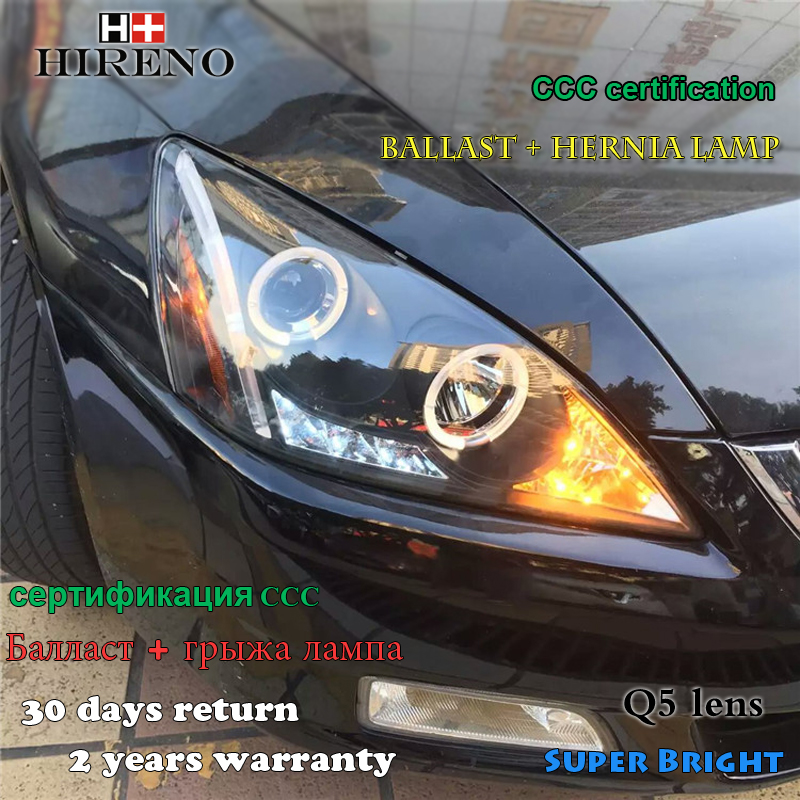 Hireno Headlamp for 2003-2007 Honda Accord Headlight Assembly LED DRL Angel Lens Double Beam HID Xenon 2pcs hireno car styling headlamp for 2007 2011 honda crv cr v headlight assembly led drl angel lens double beam hid xenon 2pcs