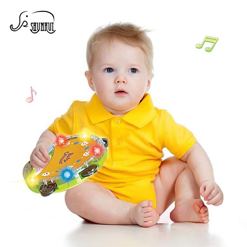 SHUNHUI Baby Handbel Drum Speelgoed Muziekinstrument Kloppend Plastic Trommel Rond Schudden Ring Licht Verhaal Kinderen Educatief Speelgoed