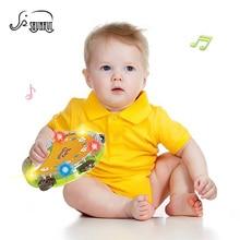 SHUNHUI Baby Hand Bell Drum Toys Musical Instrument Beating Plastic Drum Round Shake Ring Light Story Children Educational Toy