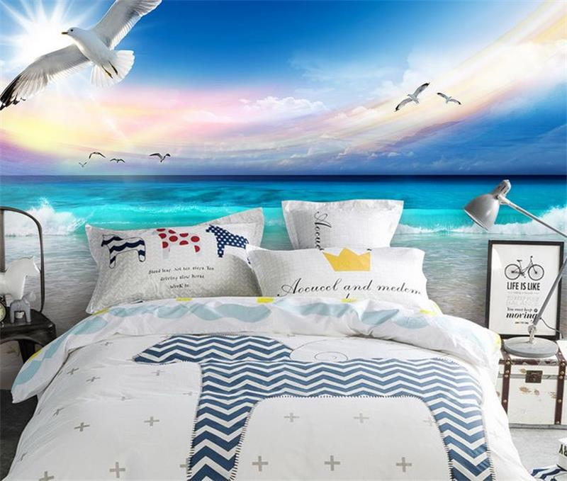 3d photo wallpaper custom mural room non-woven Beautiful beach sea view painting picture 3d wall murals wallpaper for walls 3d 3d room custom wallpaper photo non woven mural picture 3d fantasy forest birds decoration painting wallpaper for walls 3 d