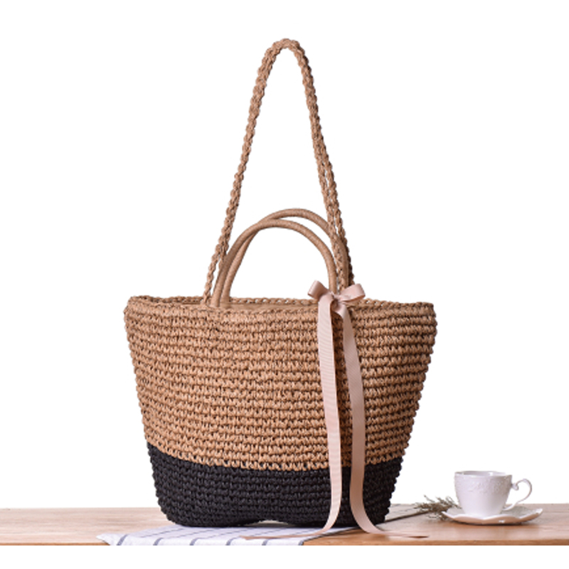 7619c16f6b Summer Ribbon Bowknot Straw Bag Beach Handmade Woven Handbags Causal Shoulder  Bags for Women Boho Big Shopping Tote A45-in Shoulder Bags from Luggage    Bags ...