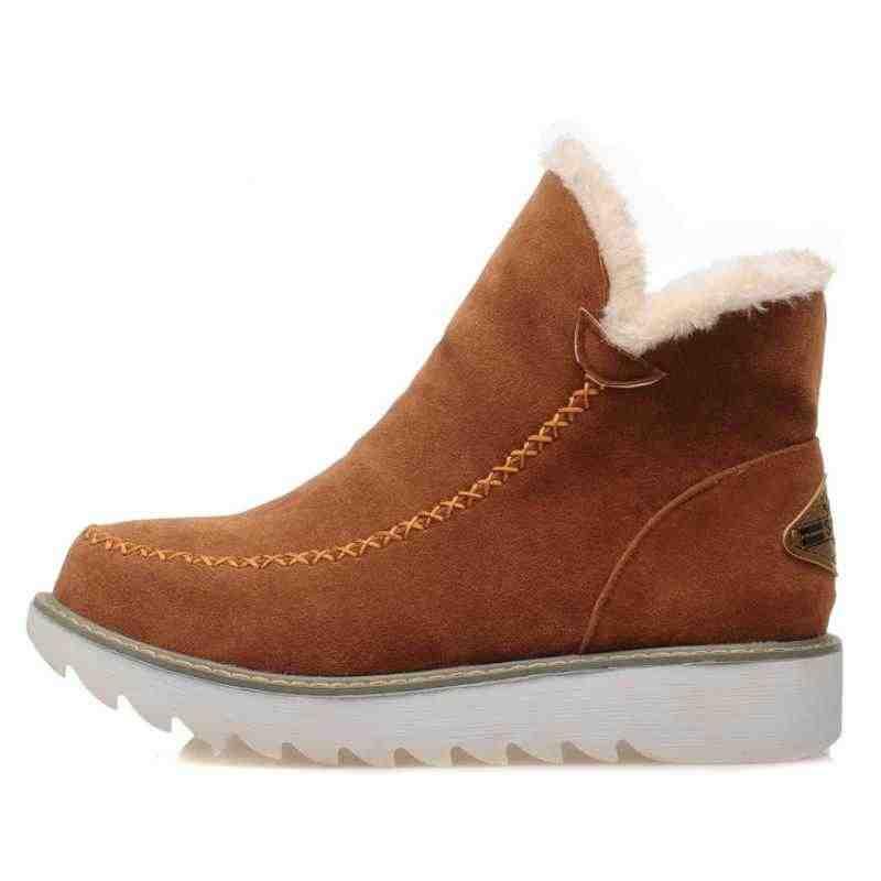 BONJOMARISA Kış Büyük Boy 34-43 Ayak Bileği Kar Botları Kadın Sıcak Peluş Yuvarlak Ayak platform ayakkabılar Kadın rahat takozlar ayakkabı