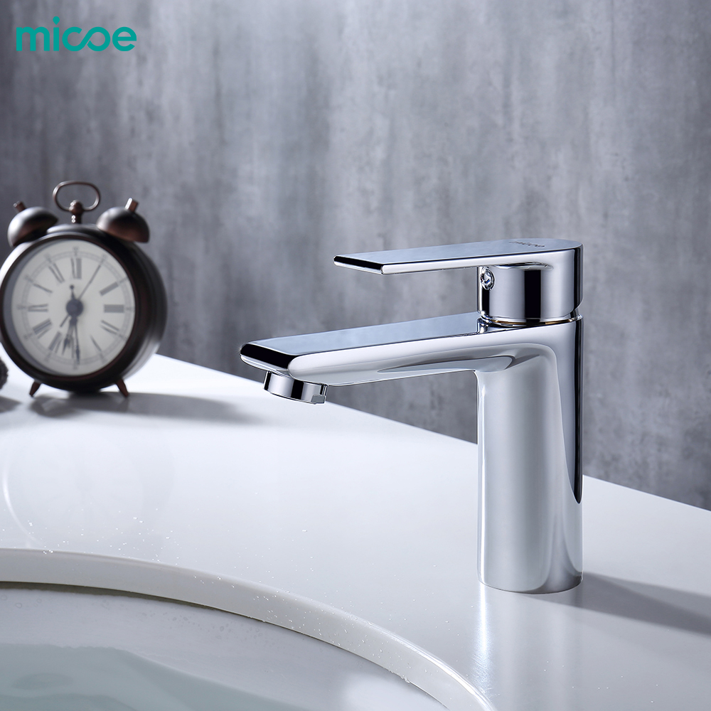 Micoe New Basin Faucet Basin Taps Bathroom Faucet Basin Sink Deck Mounted Basin Mixer Chrome Brass