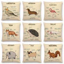 Anatomi TBONTB Lucu Hewan Flamingo Fox Dachshund Giraffe Singa Pug Squirrel Hedgehog Sarung Bantal Sofa Lempar Bantal Kasus(China)