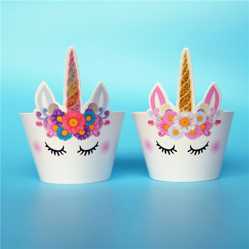 12pcs Best Quality Cartoon Unicorn Horse Cupcake Wrappers
