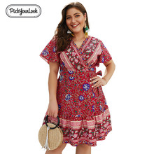 Pickyourlook Summer Women Dress Short Sleeve Fashion Ladies Mini Dresses High Waist Beach V Neck Loose Belted Female