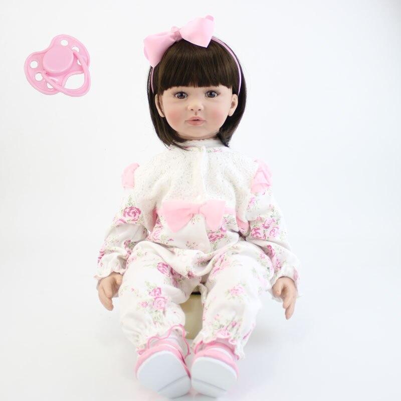 60 см силикона Reborn Baby Doll игрушки Реалистичные 24-дюймовый винил принцессы для малышей младенцев кукла подарок на день рождения Bebe живых девоч...