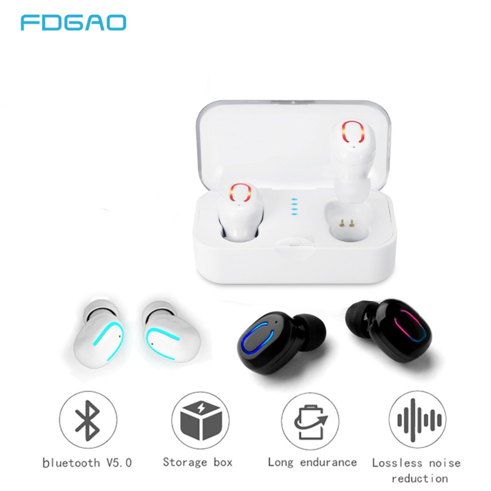FDGAO TWS Wireless Bluetooth Earphones 5.0 Wireless Earbuds Headset Stereo Bluetooth Headphone For iPhone Xiaomi Samsung Sport