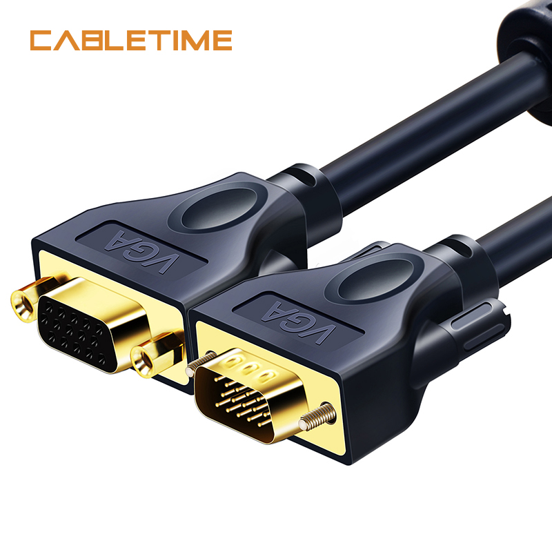Cabletime Premium VGA Cable Pro VGA to VGA Extension Cable 24K Gold-Plated Fire Prooft Grade for HDTV 3D 1.8m 3m N121