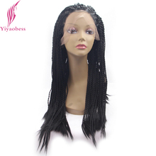 Yiyaobess Hand Making 1# Micro Braided Wigs For Black Women Heat Resistant Synthetic Lace Front Wig Hairstyles African Americans