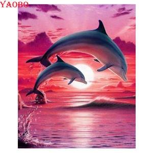Diamond-Painting Dolphin Cross-Stitch Mosaic-Sale Animal-Patterns 5D Full-Rhinestone