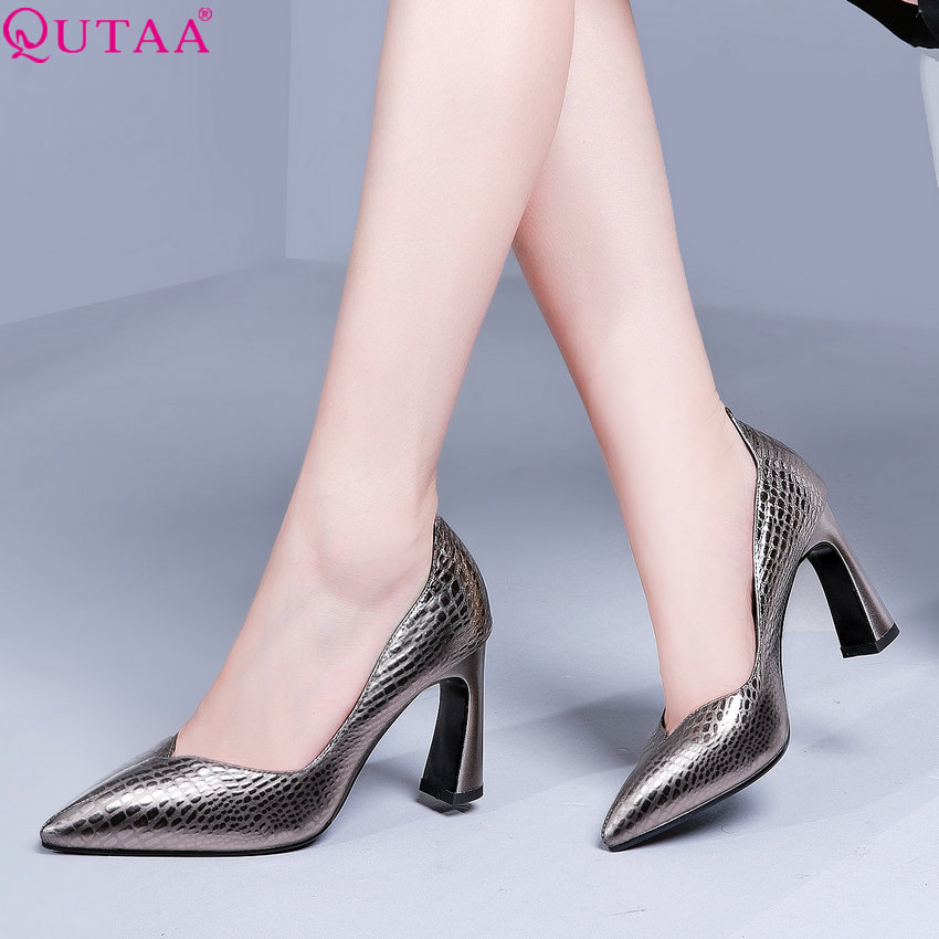 QUTAA 2019 Women Pumps All Match Pointed Toe Cow Leather pu Platform Women Shoes Slip on