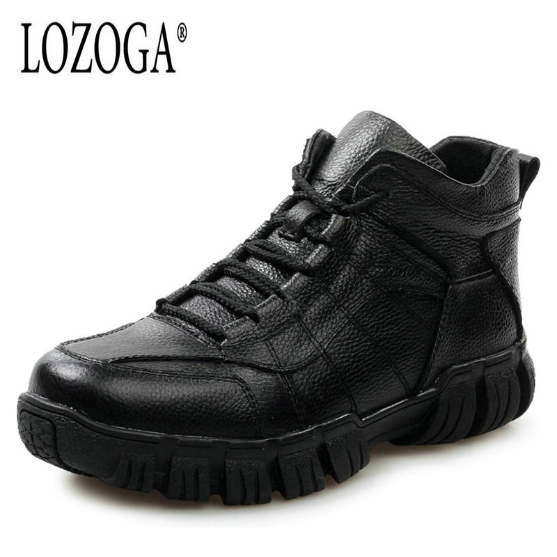 LOZOGA Mens Boots Large Size Genuine Leather Male Shoes Fashion Boots Ankle High Quality Winter Boots Warm Army Boots Lace-Up lozoga new men shoes fashion boots ankle 100