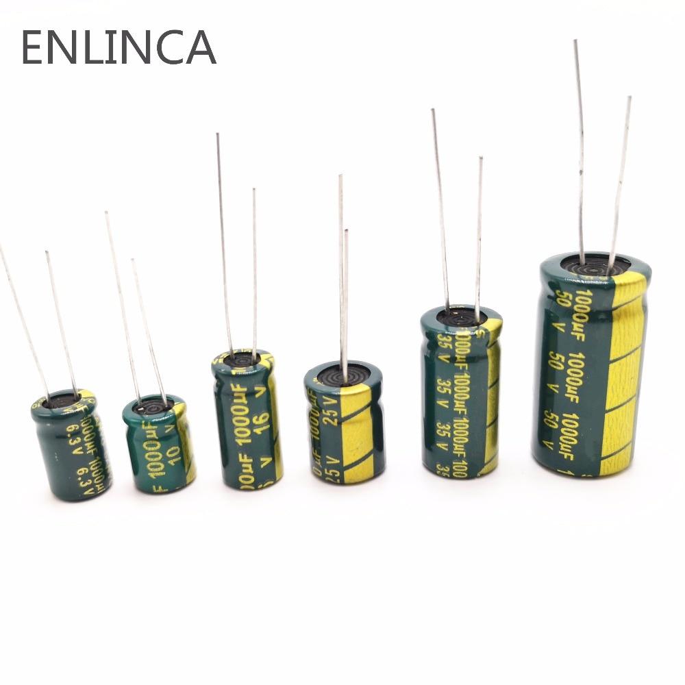 Купить с кэшбэком 60pcs/lot 1000UF 6.3v 10v 16v 25V 35V 50V 1000UF Low ESR / Impedance high frequency aluminum electrolytic capacitor 20%