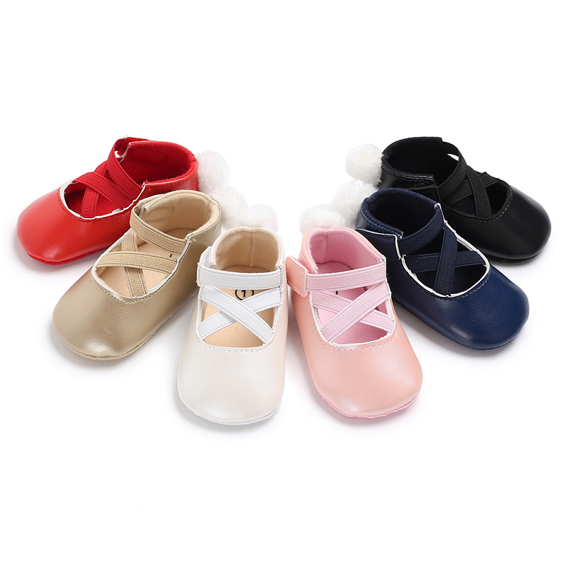 Купить с кэшбэком 2018 Brand New Fashion Baby Girls Crib Shoes Newborn Toddler Infant Elastic Band Soft Sole Leather Loafers Baby Shoes 0-18 Month