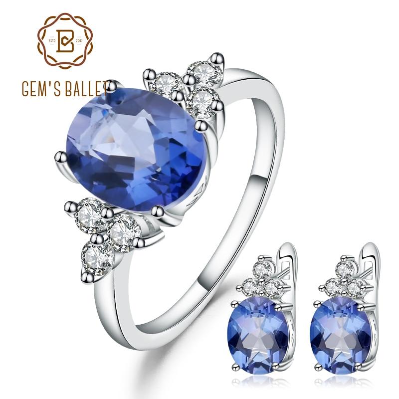 Gem's Ballet 7.10Ct Natural Iolite Blue Mystic Quartz Gemstone Jewelry Set 925 Sterling Earrings Ring Set For Women Wedding Fine