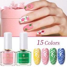 Nascido bonito 15 cores verão série prego carimbo polonês recém-doce estilo placa impressão verniz doces verniz prego