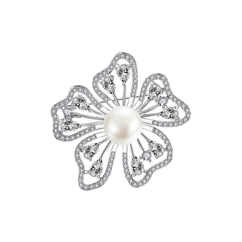 Modis Cantik Tembaga Bros Menyoroti Temperamen Mutiara Bunga Bros Pin Pernikahan Perhiasan Perhiasan Berkualitas Tinggi