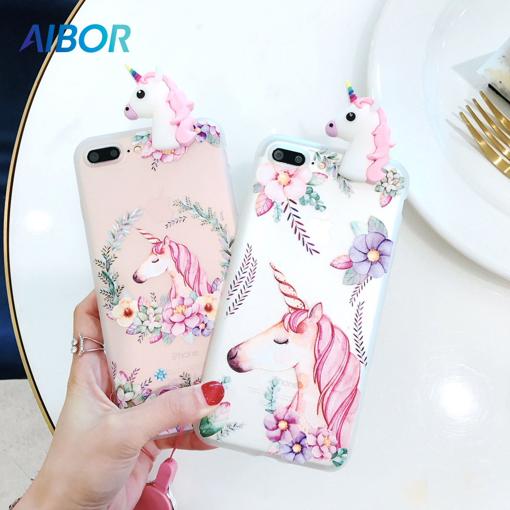 AIBOR Cartoon Cute 3D Unicorn Flower For iPhone X 5 5s SE