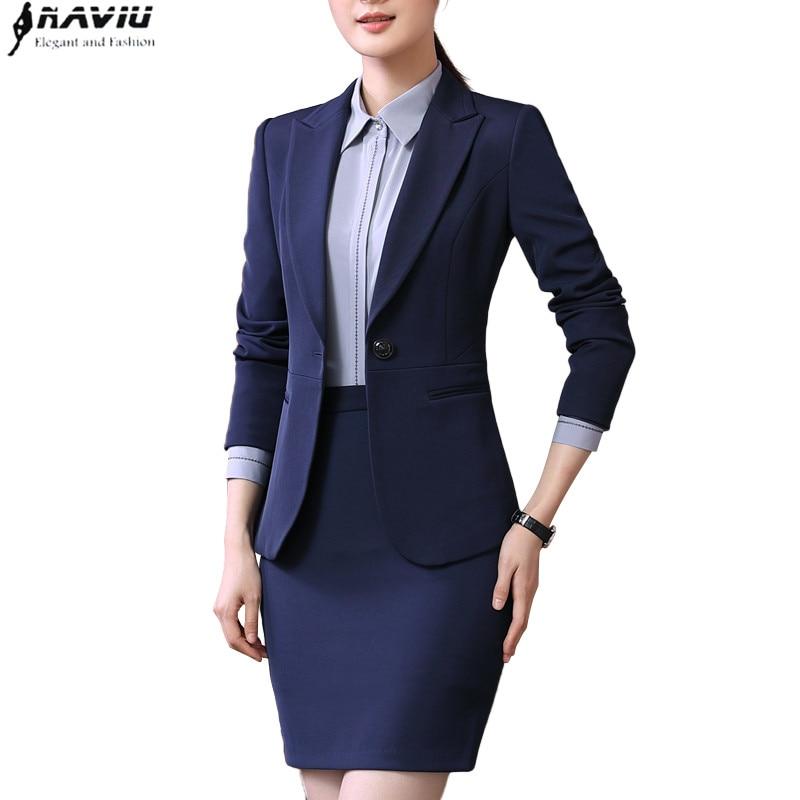 Spring new business wear women skirt suits temperament slim long sleeve blazer with skirt office ladies