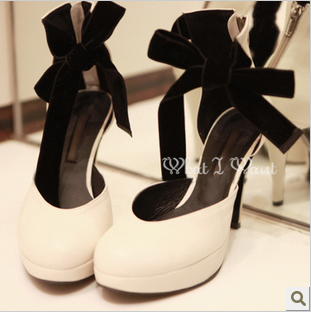 Sexy leg bandage platform thin heels ultra high heels round toe single shoes female princess high-heeled wedding shoes