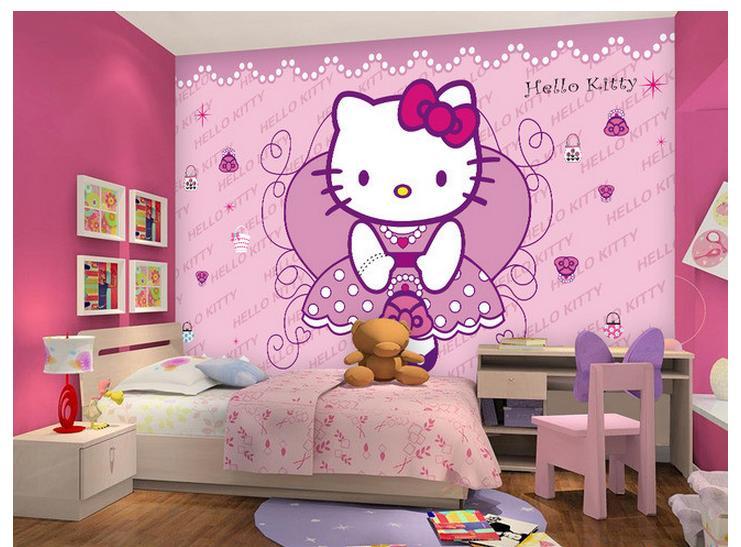Customized 3d Wall Murals Wallpaper 3d Wallpaper Princessu0027s Cute Kitty Room  Wallpaper Kids Girls Living Room