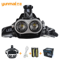2017New T6Headlamp, Outdoor Sports HeadLamp bead 2T6 LED Headlamp Headlight Camping Fishing Light +2*18650 battery+1*USB