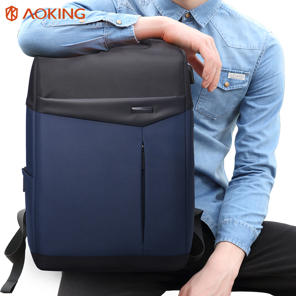 Aoking Waterproof Men Backpack College Students Korean Fashion Bag Laptop Backpack For 13.3 to 15 inch Schoolbags fengdong brand fashion men backpack college students bag korean version coated canvas retro shoulder backpack for men