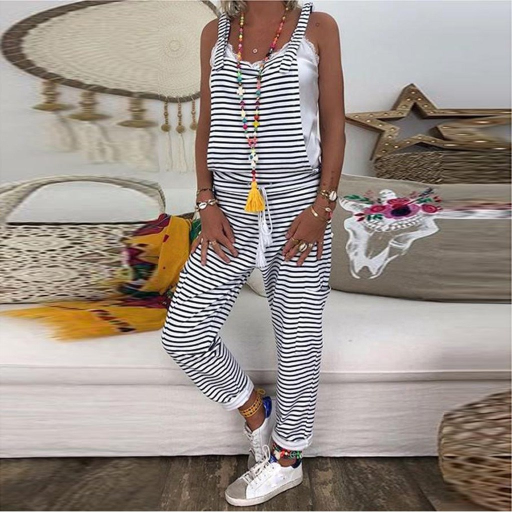 Fashion 2019 Summer Women Casual Skull Print Striped Overalls   Rompers   Pockets Full Length Long Jumpsuits
