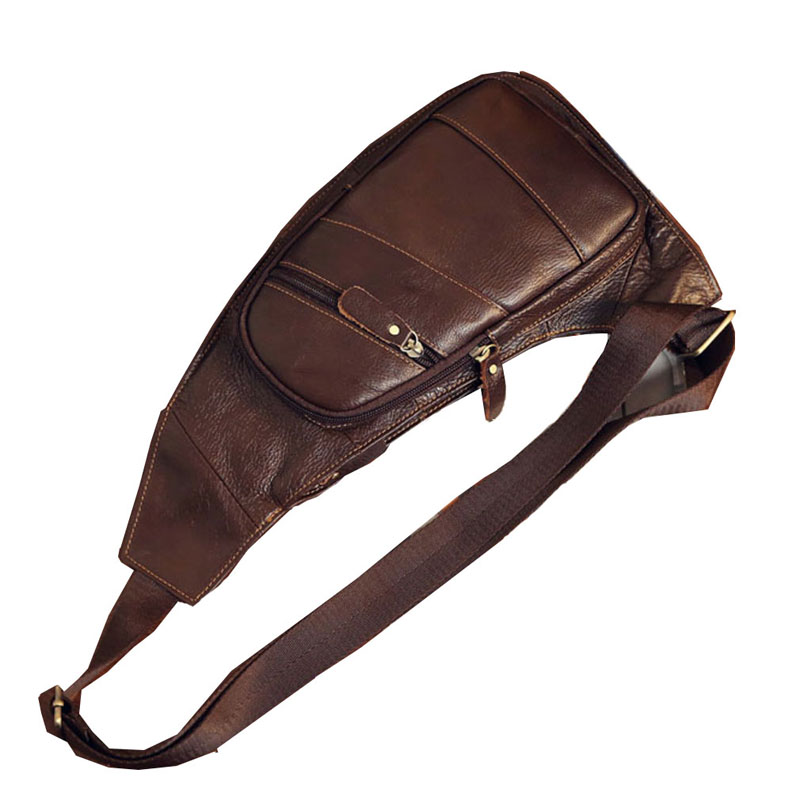 Image 4 - Mens Vintage Leather Sling Chest Bag Cross Body Messenger Shoulder Packet Motorcycle for Travel Riding Hiking Pouchchest bagcross bodygenuine leather -