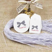 Diy cute small kraft/white thank you paper gift tags jewelry /wedding products price tag 300pcs+300 elastic string per lot